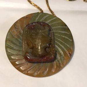 Sunya Currie carved jade brooch/pendant